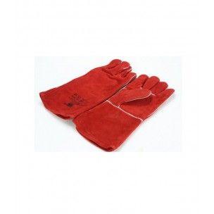 Lashandschoen van rood splitleder 5 vinger model